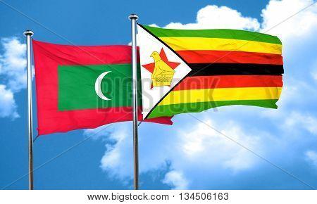 Maldives flag with Zimbabwe flag, 3D rendering