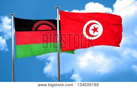 Malawi flag with Tunisia flag, 3D rendering