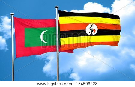 Maldives flag with Uganda flag, 3D rendering