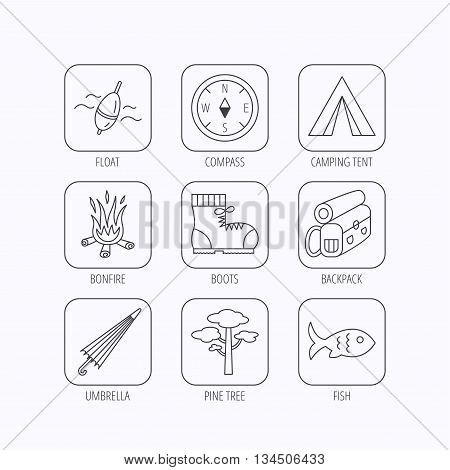 Pine tree, fishing float and hiking boots icons. Compass, umbrella and bonfire linear signs. Camping tent, fish and backpack icons. Flat linear icons in squares on white background. Vector