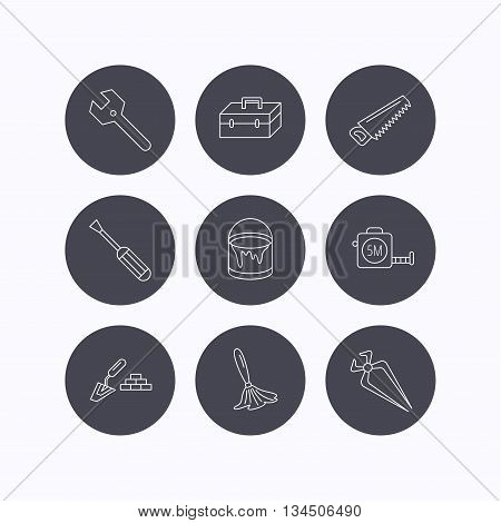 Wrench key, screwdriver and paint brush icons. Toolbox, nippers and saw linear signs. Finishing spatula icon. Flat icons in circle buttons on white background. Vector
