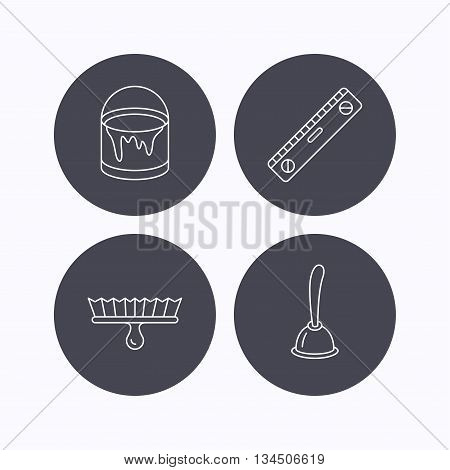 Level tool, plunger and brush tool icons. Bucket of paint linear sign. Flat icons in circle buttons on white background. Vector