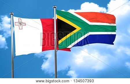 Malta flag with South Africa flag, 3D rendering