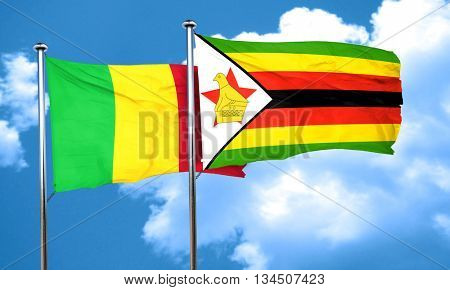 Mali flag with Zimbabwe flag, 3D rendering