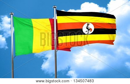 Mali flag with Uganda flag, 3D rendering