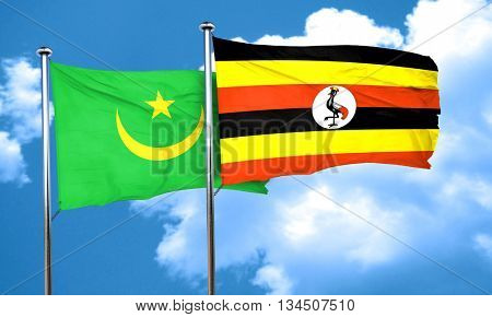 Mauritania flag with Uganda flag, 3D rendering