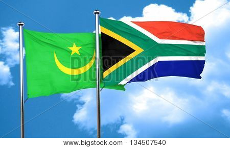 Mauritania flag with South Africa flag, 3D rendering