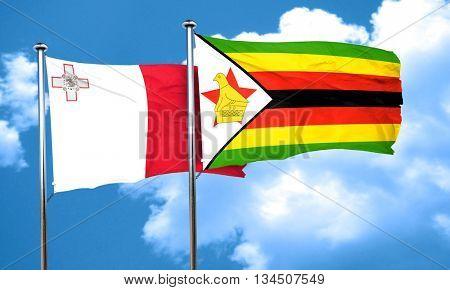 Malta flag with Zimbabwe flag, 3D rendering