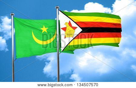 Mauritania flag with Zimbabwe flag, 3D rendering