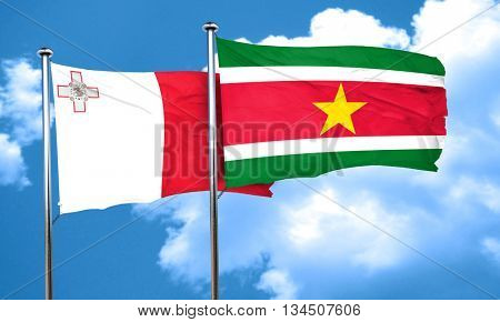 Malta flag with Suriname flag, 3D rendering