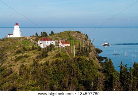 Lighthouse with Fishing Boat on Grand Manan New Brunswick