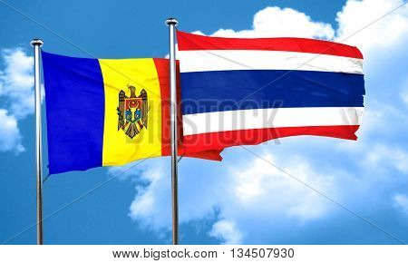 Moldova flag with Thailand flag, 3D rendering