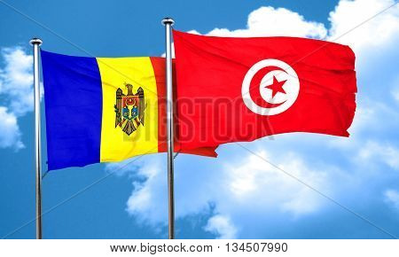 Moldova flag with Tunisia flag, 3D rendering