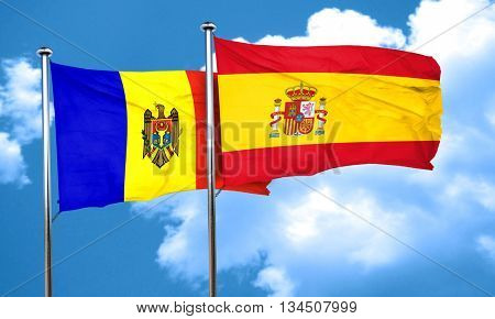 Moldova flag with Spain flag, 3D rendering