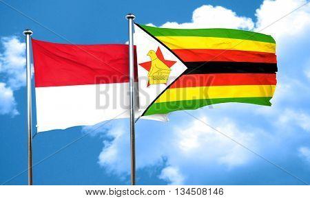 monaco flag with Zimbabwe flag, 3D rendering