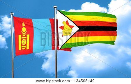 Mongolia flag with Zimbabwe flag, 3D rendering