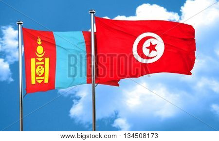 Mongolia flag with Tunisia flag, 3D rendering