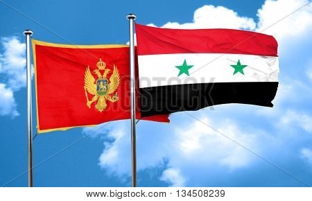 Montenegro flag with Syria flag, 3D rendering
