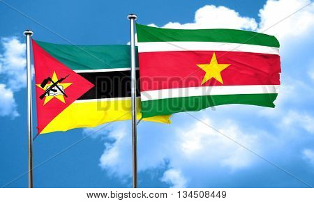 Mozambique flag with Suriname flag, 3D rendering