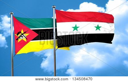 Mozambique flag with Syria flag, 3D rendering