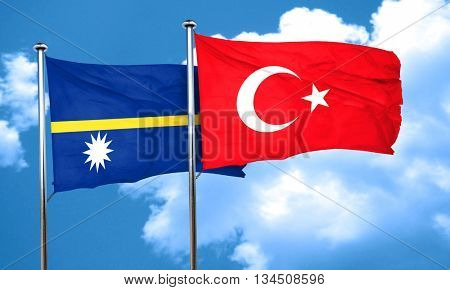 Nauru flag with Turkey flag, 3D rendering