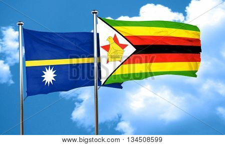 Nauru flag with Zimbabwe flag, 3D rendering