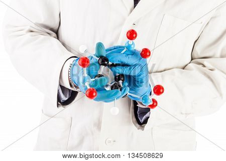 Laboratory Researcher With Tnt Molecule Structure
