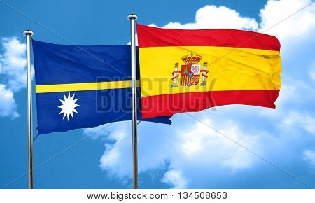 Nauru flag with Spain flag, 3D rendering