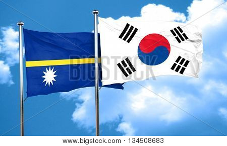 Nauru flag with South Korea flag, 3D rendering