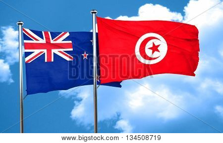 New zealand flag with Tunisia flag, 3D rendering