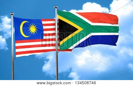 Malaysia flag with South Africa flag, 3D rendering