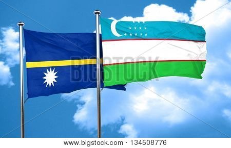 Nauru flag with Uzbekistan flag, 3D rendering