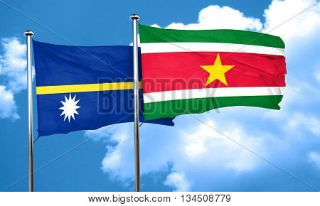 Nauru flag with Suriname flag, 3D rendering