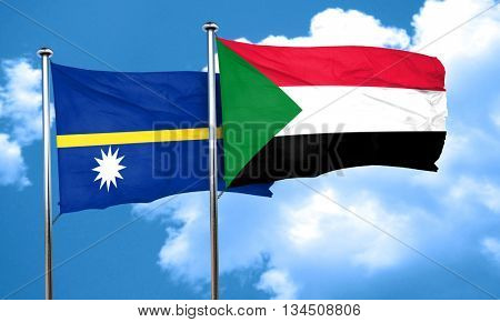 Nauru flag with Sudan flag, 3D rendering