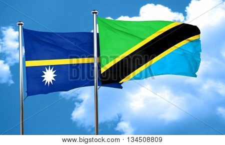 Nauru flag with Tanzania flag, 3D rendering