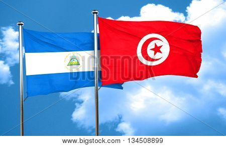nicaragua flag with Tunisia flag, 3D rendering