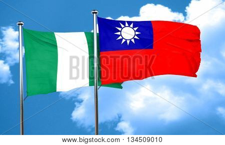 Nigeria flag with Taiwan flag, 3D rendering