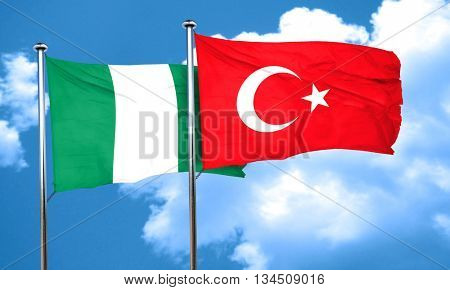 Nigeria flag with Turkey flag, 3D rendering