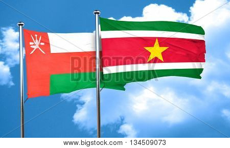 Oman flag with Suriname flag, 3D rendering