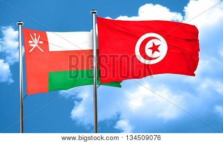 Oman flag with Tunisia flag, 3D rendering
