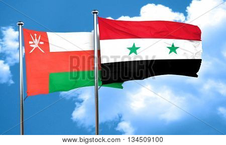 Oman flag with Syria flag, 3D rendering
