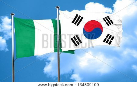 Nigeria flag with South Korea flag, 3D rendering