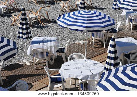 Nice France - april 19 2016 : gastronomic restaurant on the beach