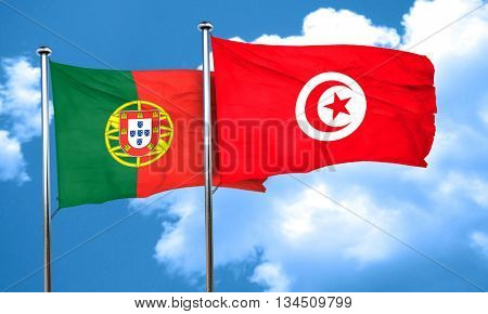 Portugal flag with Tunisia flag, 3D rendering