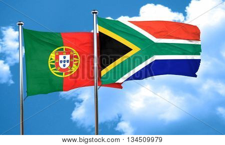 Portugal flag with South Africa flag, 3D rendering