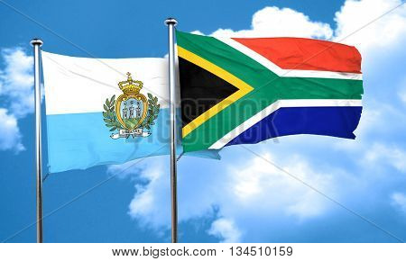 san marino flag with South Africa flag, 3D rendering