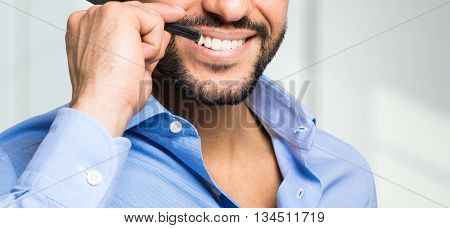 Call center male operator mouth close-up