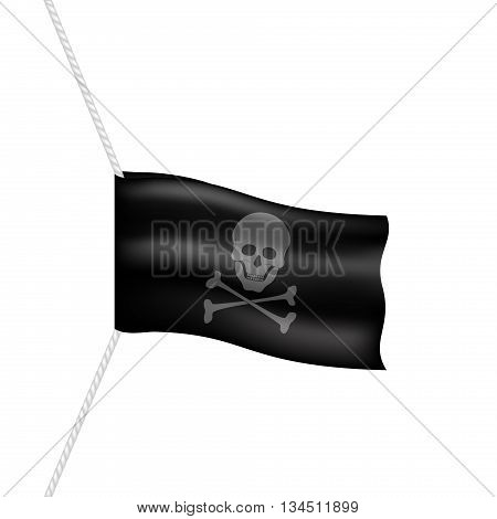 Pirate flag with skull symbol hanging on white rope on white background