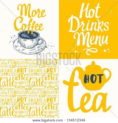 Hot drinks menu. Vector Illustration with cup, teapot and pattern. Decorative elements for your packing design. Multicolor decor.