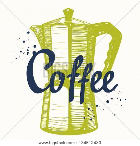 Geyser coffee maker. Brush calligraphy elements for your menu design. Handwritten ink lettering.